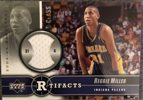 Reggie Miller R Tifacts Game Used Warm-Up R-Glass UD Pacers