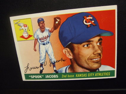 1955 TOPPS BASEBALL CARD NO. 61 - SPOOK JACOBS - A'S - PSA WORTHY