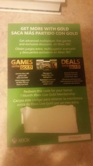 1 month Xbox Live Gold Membership code