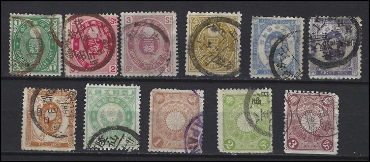 1883-99 Classic Era Japan stamps (11), U/F-VF, est CV $13.25