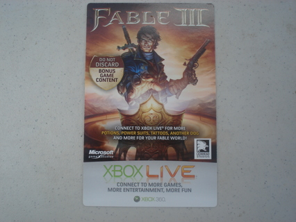 FABLE III BONUS GAME CONTENT XBOX 360 CODE: POTIONS, POWER SUITS, TATTOOS, ANOTHER DOG +