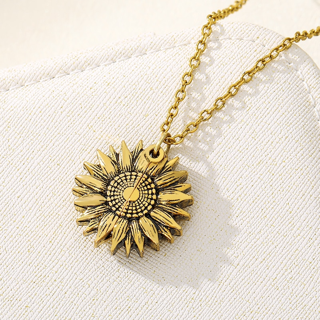 ✿Free Shipping✿ You Are My Sunshine Open Locket Sunflower Necklace x1pc