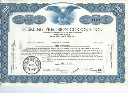 Sterling Precision stock certificate 1961