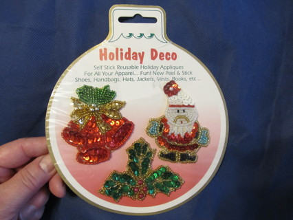 Christmas Holiday Appliques Self Stick Sequins & Beads Santa Holly Bells