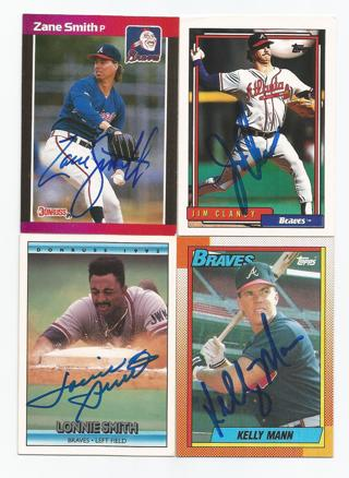 Free Lonnie Smith Atlanta Braves Signed Baseball Card Lot Jim