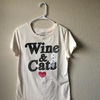 NWOT Wine & Cats Boxy Cream Graphic Tee Size S