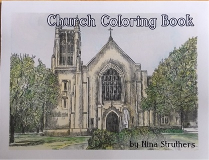 BEAUTIFUL CHURCH COLORING BOOK with Bible Quotes- GIN ONLY