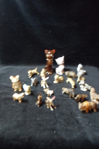 Lot of 22 small animal figures. Most all are made in Japan