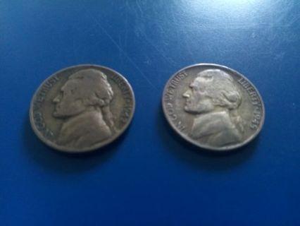 Two Jefferson Silver Nickels