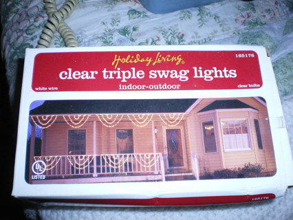 Christmas Clear Triple Swag lights - Free: Christmas Clear Triple Swag Lights - Christmas - Listia.com