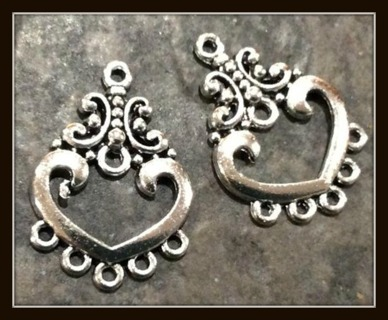 2pc Set! Pretty Hearts Tibetan Silver Earring Charms with Loops for Beads, Dangles, 25mm x 17mm!