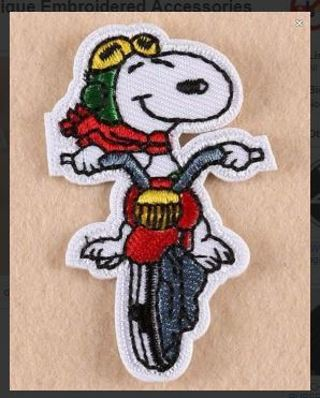 1 MOTORCYCLE DOG SNOOPY DOG Patch Iron On Adhesive Badge Applique Embroidered Accessories FREE