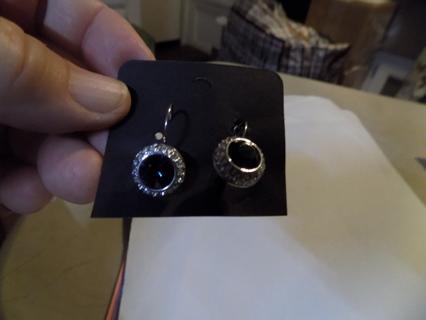 Silvertone large blue rhinestone earrings surrounded in clear stones
