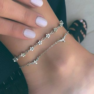 2Pcs Women Retro Bird Flower Silver Bracelet Set Bohemian Fashion Beach Jewelry Accessories