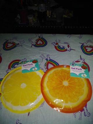 ❤✨❤2 BRAND NEW REUSABLE FRUIT GEL/ICE PACKS❤✨❤(ORANGE SLICE & LEMON SLICE)LAST 2!