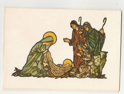 Vintage Christmas Card Unused With Envelope Raised Printing