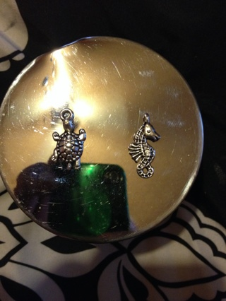 Turtle and seahorse charms