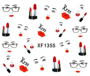Lipstick Kisses Nail Art Tips Sticker Decals Water Transfer Manicure Decorations (19 stickers)