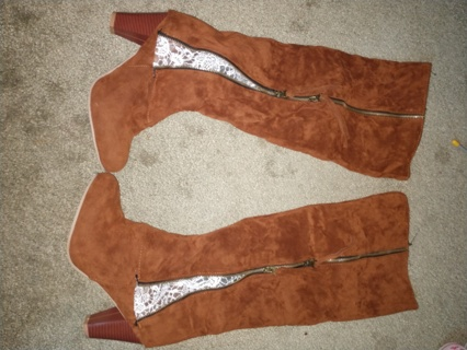 Brown Knee High Heel Boots Lace Details