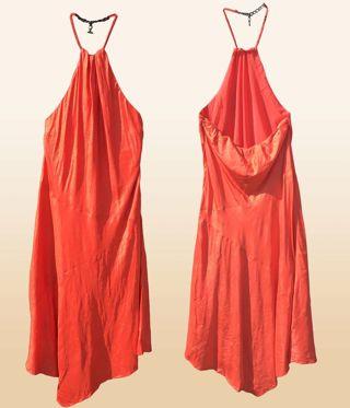 RL Ralph Lauren Silk Dress NWT ~ $199 Retail!! ~ Orange Halter ~ Size 12
