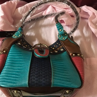 New w/tags Trish Colorblock Leather Satchel by M. C. Handbags