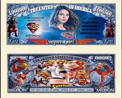 SuperGirl Million Dollar Bill Collectible Fake Play Funny Money $ Novelty Note