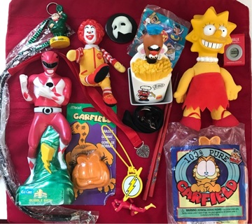 Vintage Random Toy Lot Power Rangers Garfield McDonalds The Simpsons Junk Drawer FREE Shipping!
