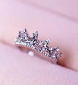 Women Crown Rhinestone Index/Little Finger Wedding Party Engagement Silver Ring