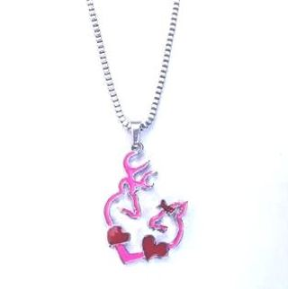 NEW! Browning Pink Buck & Doe Forming A Heart With Hearts Necklace