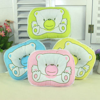 2Pcs Baby Pillow Infant Toddler Lovely Cosy Baby Bedding Bear Print Oval