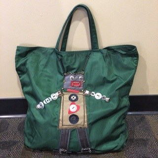 Authentic Prada Robot Motif Vintage Tote Handbag Tessuto 1 Smeraldo