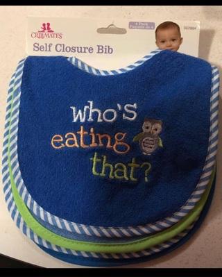 Set if 4 Boy's Self Closure Bibs, New
