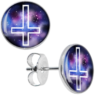 PAIR OF NEW 10MM HYPOALLERGENIC SURGICAL STAINLESS STEEL INVERSE CROSS EARRINGS GALAXY UNIVERSE