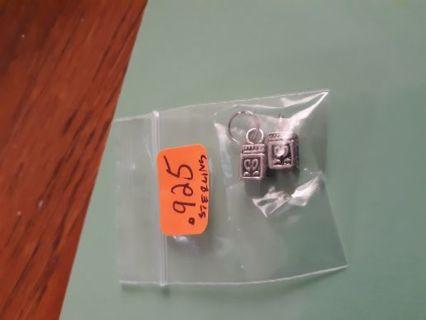 .925 silver marked treasure box charms x2