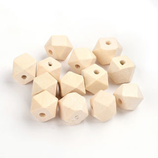 20PCs Polygons Faceted Wood Beads Lead Free Moccasin Color Loose Spacers 12x12mm