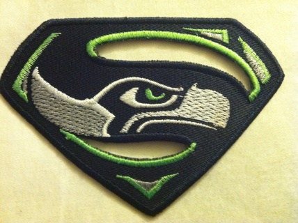 Seattle Seahawks Superman Logo - Iron on Patch