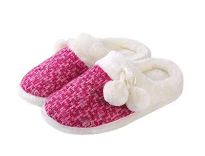MOTHER'S DAY GIFT! Aerusi Women's Pearly Pom House Slip on Slippers