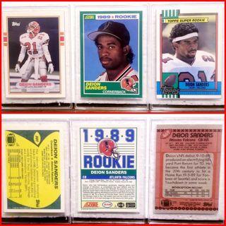 3 ROOKIE card combo! All 1989> DEION SANDERS >Atlanta Falcons AWESOME!