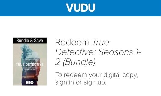 True Detection Season 1 and 2 VUDU bundle