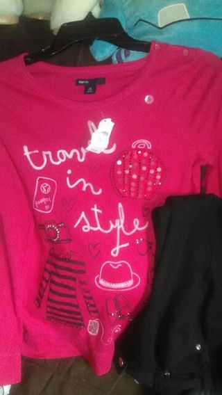 Girls size 12~14 black and red outfit Red tee is NWT.