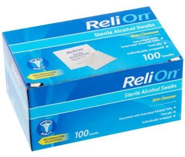 ~NEW~ ReliOn Skin Cleanser Sterile Alcohol Swabs, 100 count