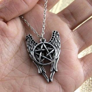 Supernatural Pentagram Castiel Wing Angel Wicca Talisman Vintage Necklace