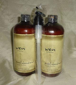 Wen Cleansing Conditioner Shampoo 2 x 16oz = 32oz SWEET ALMOND MINT Chaz Dean NEW & SEALED