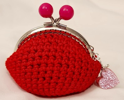 Crochet Coin Purse**Red with Small Pink Balls Clasp**LQQK**
