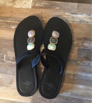 Black Sophie Sue flip flops