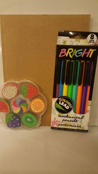☆ FREE SHIPPING & BRAN NEW ☆ Diary/coloring book w/ cored pencils & sented erasers