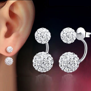 1 Pair Silver Earring Jewelry Double Beaded Crystal for Lady And Women