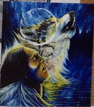 "HOWLING WOLF WARRIOR - 3 x 4"" MAGNET"