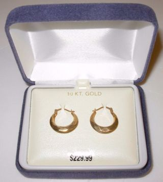 10kt Gold Hoop Earrings Brand New in Box