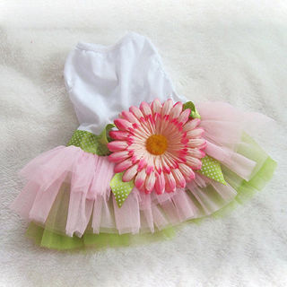 Pet Dog Lace Sunflower Skirt Puppy Tutu Dress Cat Princess Dresses Party